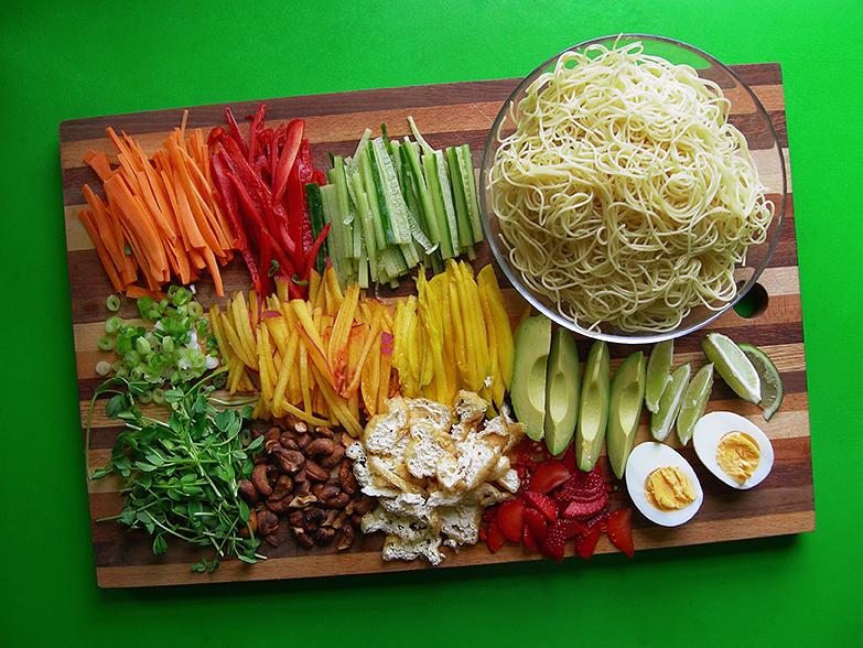 East Van Kitchen's Gado Gado Salad! noodle peach pea shoots avocado boiled egg Asian salad
