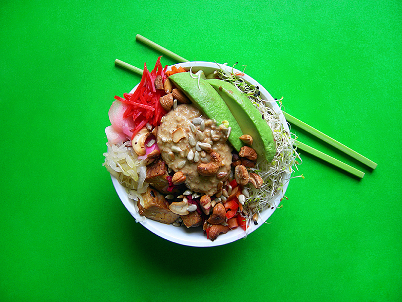East Van Kitchen's VEGAN Tempeh Rice Bowl with avocado, sauerkraut + pickled ginger!