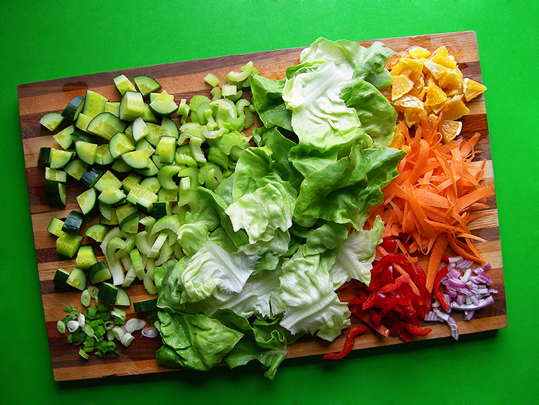 East Van Kitchen's Grace's Salad: simple, fresh salad my Grandma always made, with butter lettuce, oranges, carrots, cucumber and celery!