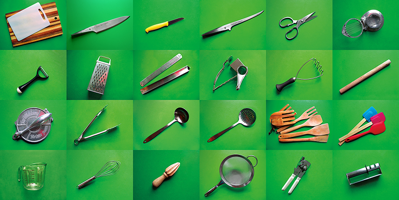 East Van Kitchen's helpful Tools Grid: cutting boards, strainers, knives, reamer, scissors, wooden spoons, tools we love