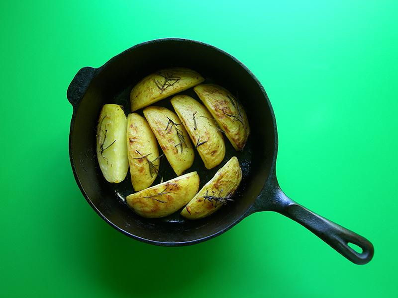 Lemony Baked Potatoes! East Van Kitchen presents our Greek Night dinner: salmon souvlaki, Greek salad, tzatziki, hummus, and lemon potatoes!