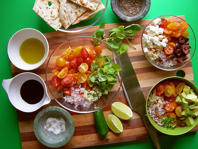 EVK's Bruschetta Inspirations: tomato + basil, olive + feta, or avocado and tomato