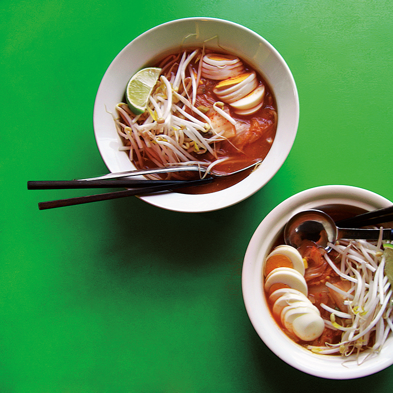 East Van Kitchen's Kimchi Soup: boiled eggs, bean sprouts, corn and lime in a spicy broth