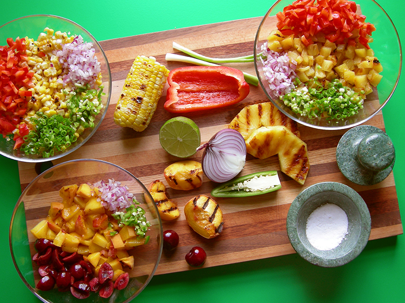 This East Van Kitchen's Salsa Inspirations! Grilled pineapple, corn, peaches