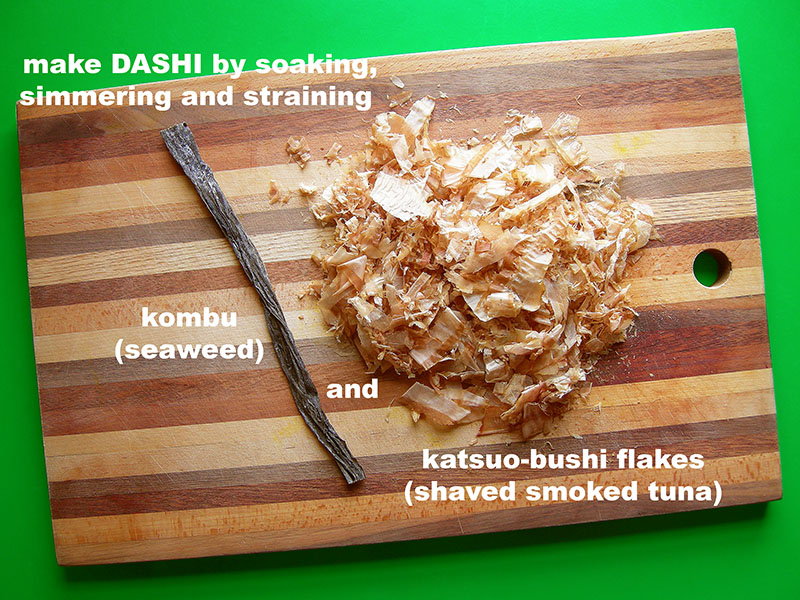 Japanese Night at EVK: Prep your homemade dashi broth with one stick of kombu and a good handful of katsuobushi. Find more delicious world pescetarian recipes at eastvankitchen.com