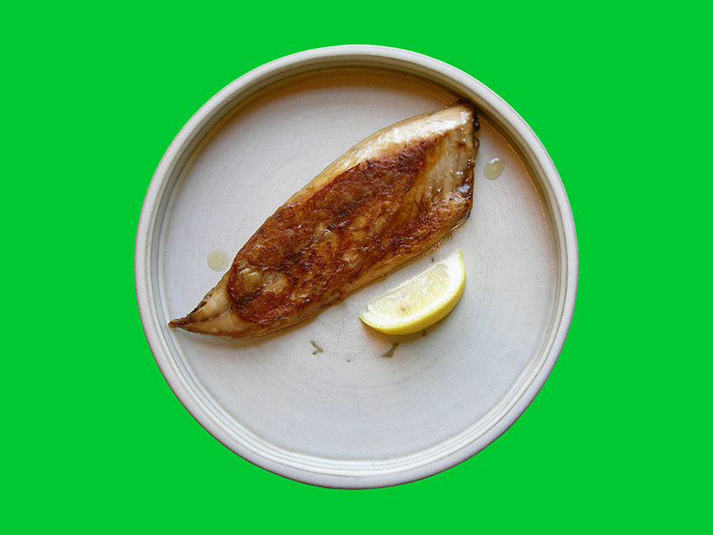 Japanese Night at EVK: we prefer our baked mackerel quite crispy with a fresh squeeze of lemon! Find more delicious world pescetarian recipes at eastvankitchen.com