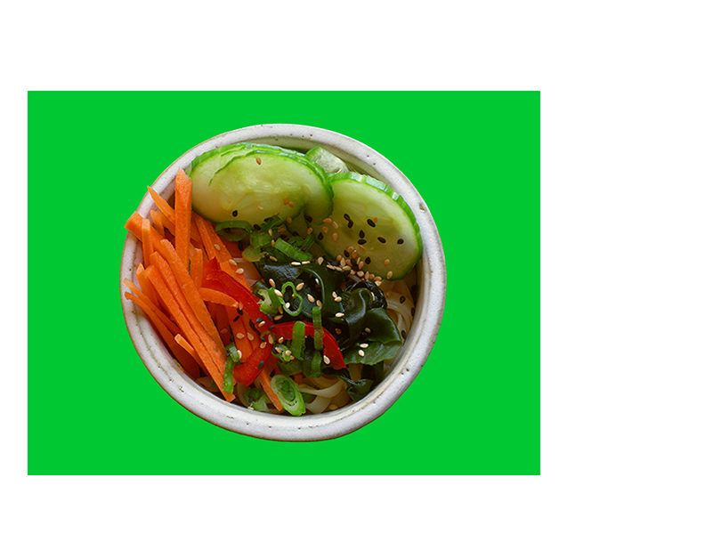 Japanese Night at EVK: Tuck one serving of your chilled noodles in a pretty bowl and top with fresh veg and tangy dressing for a refreshing Japanese salad. Find more delicious world pescetarian recipes at eastvankitchen.com