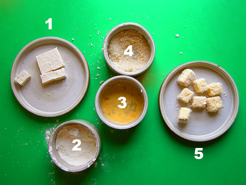 Japanese Night at EVK: Follow these five simple steps for homemade Agedashi Tofu. Fry at medium/high temp in a high smoke point oil until the turn a beautiful golden colour! Find more delicious world pescetarian recipes at eastvankitchen.com